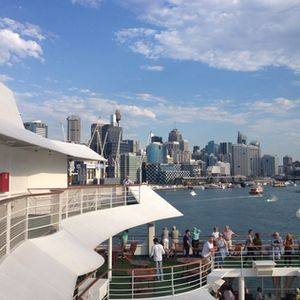 Leaving town, with Sydney's skyline in the background