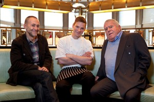 Michel Roux Jr and Albert Roux, flank chef Chris King at Roux at The Landau