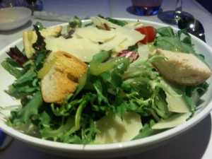 Luxury airline food can be a perfect salad - British Airlines Fist Class