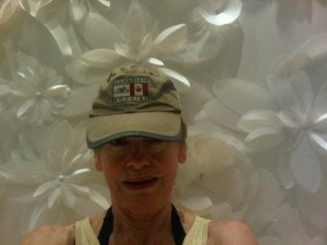 Mary Gostelow in front of Sybille de Margerie's 3-d white plastic wall