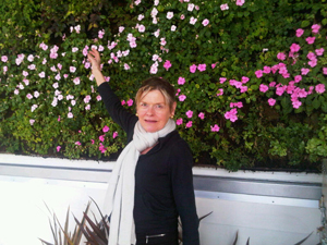 Keeping warm in front of Andaz San Diego's rooftop living wall