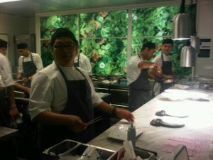 A wall in Iggy's restaurant - Singapore - kitchen looks like a garden