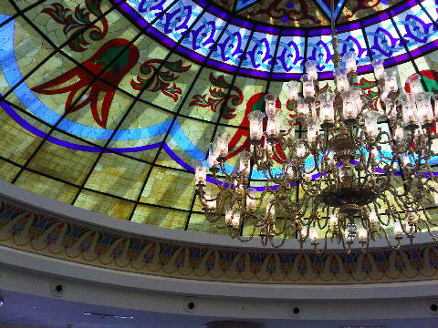 The lobby of Kempinski Hotel Badamdar Baku sports a hemispherical stained-glass cupola about 25 feet across