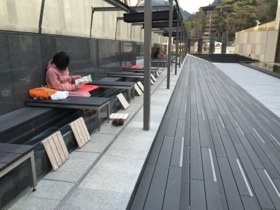 After touring the Museum, many rest their feet in hot onsen water