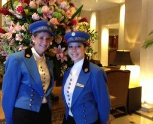 Ladies in the blue, in the lobby of the luxury Adlon Hotel