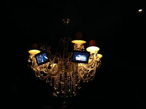 .. which has a chandelier with televisions