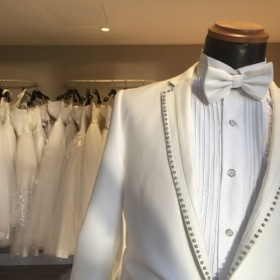 The wedding store has gear, to loan, for any size