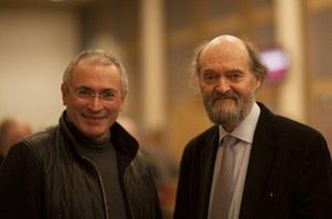 Mikhail Khodorkovsky, left, with Arvo Pärt, Zurich, March 4th, 2014