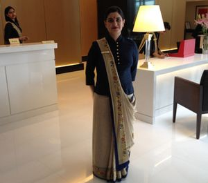 Oberoi saris are so chic, royal blue and gold