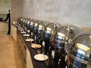 A military line of chafing dishes…