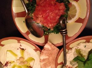Mezze; tabbouleh (top), hummus and mountable