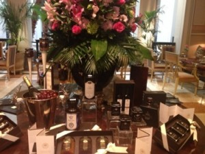 The hotel's Winter Garden, with a display of home-made gourmet products