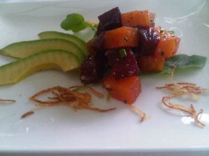 Avocado and baby-beet salad, and 'that view'.