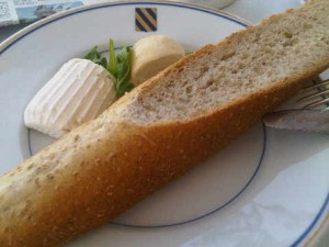 Simply, and the best, wholewheat baguette with ricotta, left, and smoked buffalo mozzarella