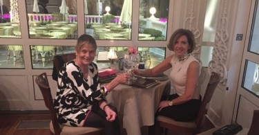 Angela Brav and Mary Gostelow at The Carlton Hotel Cannes