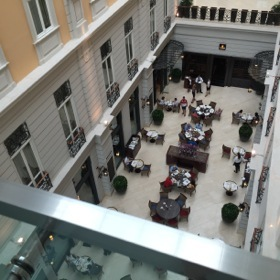 Looking down into the breakfast atrium