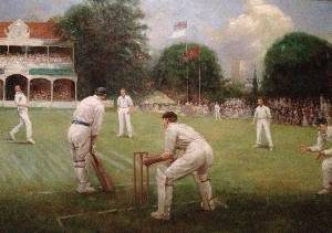 A painting showing a game of cricket, displayed at Summer Lodge