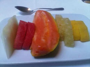 Platter of freshest fruit, at Hotel Emiliano's breakfast