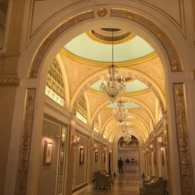 One of the hotel's glorious, high-ceiling corridors