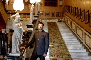 Girish Sehgal at the base of the main staircase