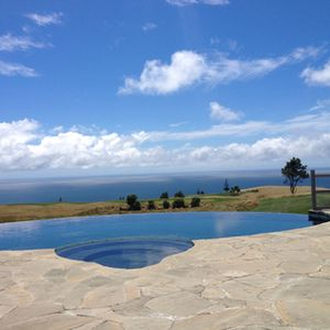 Looking across the outside pool…