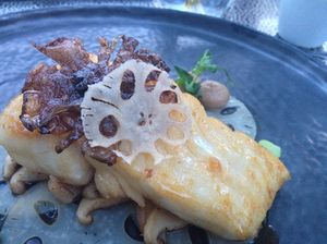 Wild turbot and lotus root - before green pea juice was poured over
