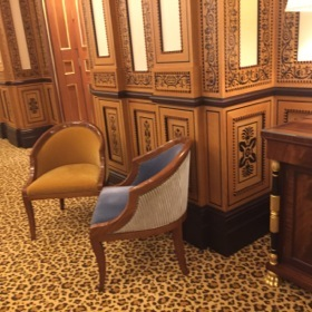 The marquetry on these walls is, however, real
