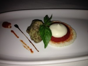 Amuse of a deconstructed eggplant parmigiano