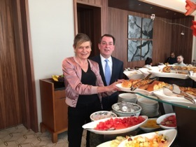 Hotel GM Jonathan Lowrey at the colourful breakfast buffet