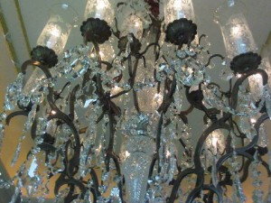 Two giant chandeliers with real Murano crystal, from Venice, at Leela Palace luxury hotel, Delhi, India