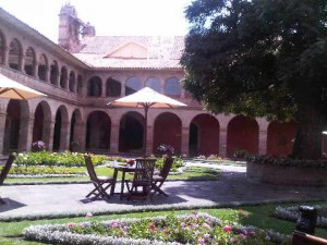 Main courtyard of the luxury Hotel Monasterion in Cusco, Peru