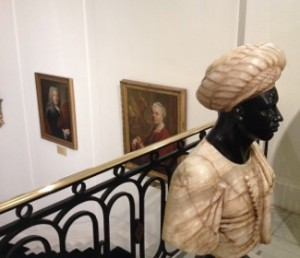 The main staircase has sculptures, paintings and more