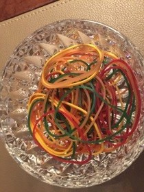 An artistic display - of elastic bands