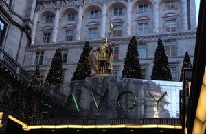 Looking up at the entrance of The Savoy luxury hotel London
