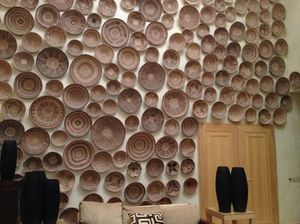One of the walls of baskets