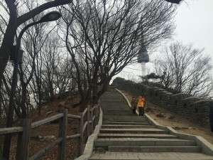 Climbing up to Seoul Tower