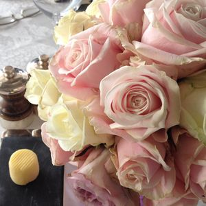 Roses on the table, and Bordier butter