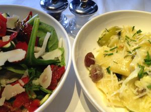 The ideal flight meal, pasta and undressed salad