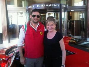 Arrival at the Hotel Martinez, with Daniele and his Ferrari 458 Italia