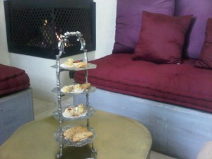 Welcome to Riad Joya, cakes in front of a working fire