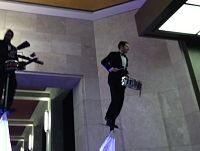 Stilt-high drummers at the hotel entrance