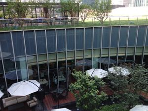Look down at restaurants' terraces