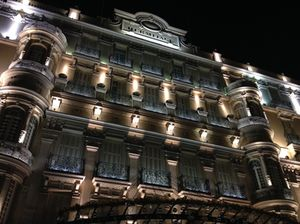 Looking back up at the hotel's facade..