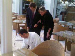 Martinez GM Richard Schilling supervises terrace tiling