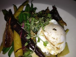 Geoffrey Murray's vegetable gnudi with poached egg