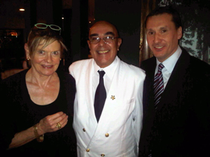 Mary, waiter Josef and hotel manager Christophe Olivro at Beverly Hills Hotel's Polo Lounge