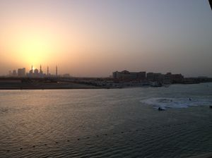 Looking across the canal at the Grand Mosque (note the despicable jet-skiers)