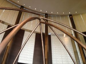 A giant sculpture overhead in the lobby