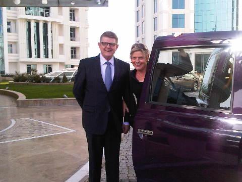 Henri Blin, GM Kempinski Hotel Badamdar Baku and travel writer Mary Gostelow stand by one of the city's 30,000 Baki Taxis