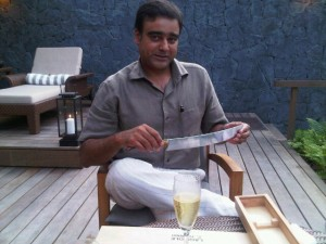 Vikram Singh's Laguiole sword used for champagne top-off - Datai - Langkawi